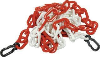 Absperrkette rot-weiß mit 2 Universalhaken, Flachprofil 9 mm, Länge 3 m