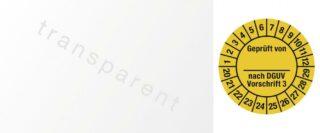Kabelprüfplakette Geprüft...DGUV Vorschr. 3, 2020 - 2029, Folie, gelb, 2,5x6 cm