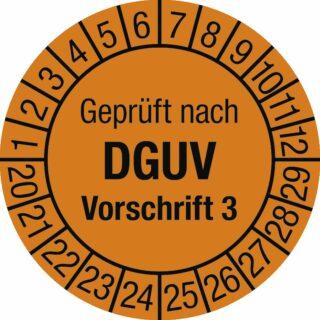 Prüfplakette Geprüft nach DGUV Vorsch. 3, 2020 - 2029, Dokumentenfolie, Ø 2,5 cm