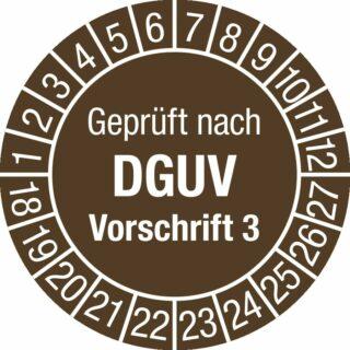 Prüfplakette Geprüft nach DGUV Vorsch. 3, 2018 - 2027, Dokumentenfolie, Ø 3 cm