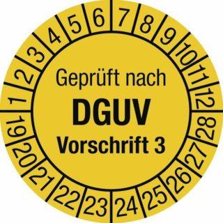 Prüfplakette Geprüft nach DGUV Vorsch. 3, 2019 - 2028, Dokumentenfolie, Ø 3 cm
