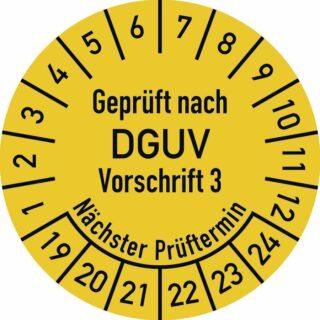 Prüfplakette Geprüft nach DGUV V3 ..., 2019 - 2024, Dokumentenfolie, Ø 2,5 cm