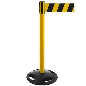 Gurt-Absperrpfosten GLA 26 gelb, Kunststoff, 100 cm Höhe, Gurt 3,8m gelb/schwarz