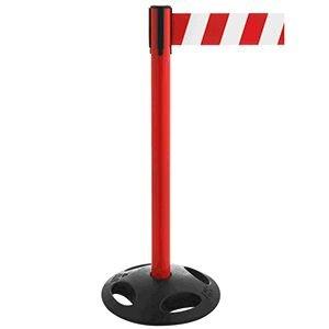 Gurt-Absperrpfosten GLA 26 rot, Kunststoff, 100 cm Höhe, Gurt 3,8 m rot/weiß