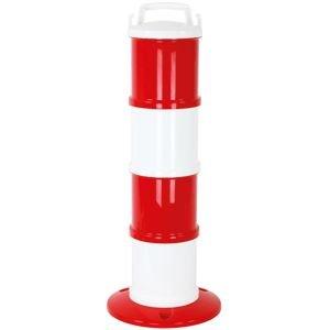 Modularer Absperrpfosten rot/weiß, PP, Höhe 85 cm, inkl. 5 lfm Kette rot/weiß