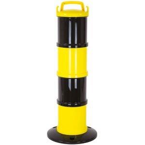 Modularer Absperrpfosten gelb/schwarz, PP, Höhe 85 cm, inkl. 5 lfm Kette g/s