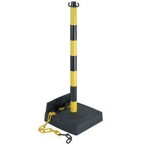 Absperrpfosten g/s, PVC,mit 2 Haken,Höhe 90 cm,PE-Sockel,Kettenfach u. 2,5m Kett