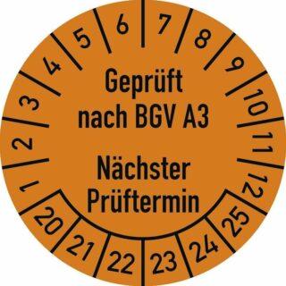 Prüfplakette Geprüft nach... 2020 - 2025, Folie, Ø 3 cm