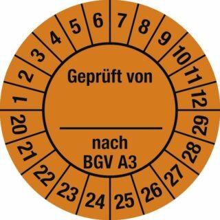 Plakette Geprüft von nach BGV A3 2020 - 2029, Dokumentenfolie, Ø 3 cm