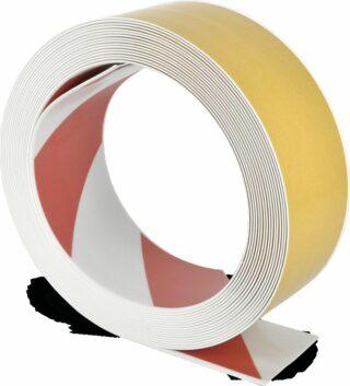 Bodenmarkierungsband WT-500 mit abgeschrägten Kanten, PVC, Rot/Weiß, 7,5x1000 cm