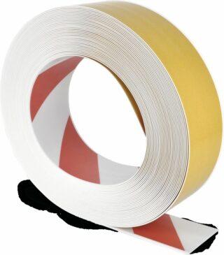 Bodenmarkierungsband WT-500 mit abgeschrägten Kanten, PVC, Rot/Weiß, 7,5x2500 cm