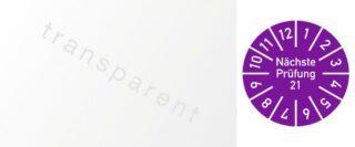 Kabelprüfplakette Nächste Prüfung 2021, Folie, violett, 2,5x6 cm