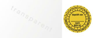 Kabelprüfplakette Geprüft von nach BGV A3, 2020 - 2029, Folie, gelb, 2,5x6 cm