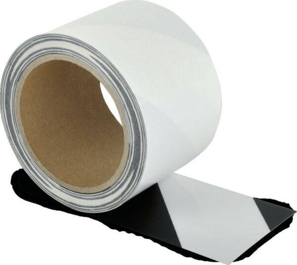 Schmutzresistentes Bodenmarkierungsband WT-5229, Polyester, s/w, 7,5x1500 cm