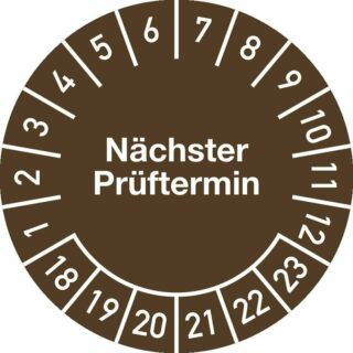 Plakette Nächster Prüftermin 2018 - 2023, Jahresfarbe, Dokumentenfolie, Ø 1,5 cm