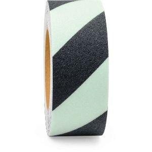 m2-Antirutschbelag Easy Clean R10, langnachleuchtend/schwarz, 50 mm x 18,3 m