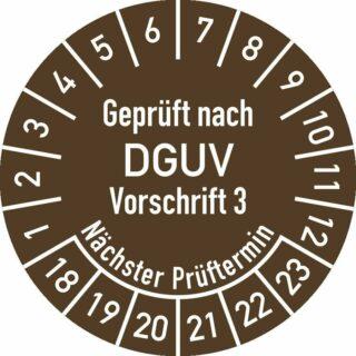 Prüfplakette Geprüft nach DGUV V3 ..., 2018 - 2023, Folie, Rolle, Ø 2,5 cm