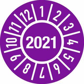 Prüfplakette Jahr 2021 mit Monaten, Folie, 500 Stück auf Rolle, Ø 2 cm